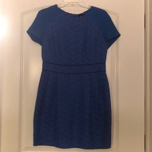 Blue textured pleated dress